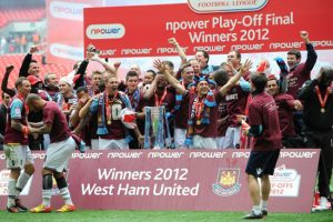 West Ham United celebrate promotion to the Premier League, after the final whistle